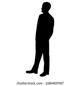 isolated, black silhouette man, guy