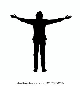 Isolated black silhouette of man with raised open arms outstretched, on white background. Front or back view. Contour outline style. Vector illustration