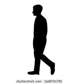 isolated, black silhouette man is walking