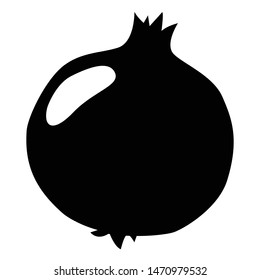 Isolated black silhouette of a pomegranate on white background. Flat illustration of fruit icon. Food. - Vector