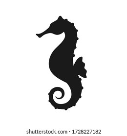 Isolated black silhouette of seahorse on white background. Side view. Silhouette of marine animal. Sea horse.