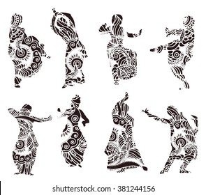 Isolated black silhouettes of indian dancers in mehndi style. Vector stock illustration for design