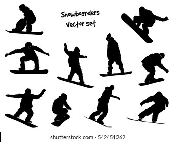 Isolated black silhouettes snowboarders. Vector set for design