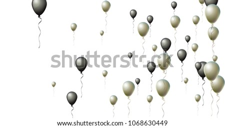 20ca6b1696f Isolated Black and Silver Helium Balloons. Party, Christmas, Birthday, New  Year Festive