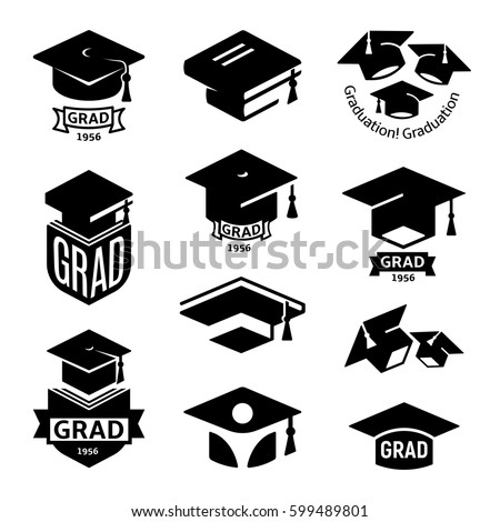 Isolated Black White Color Students Graduation Stock Vector Royalty