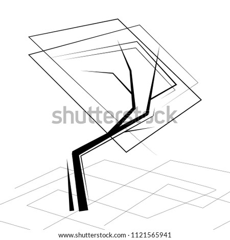 Isolated Black White Color Trees Lineart Stock Vector Royalty Free
