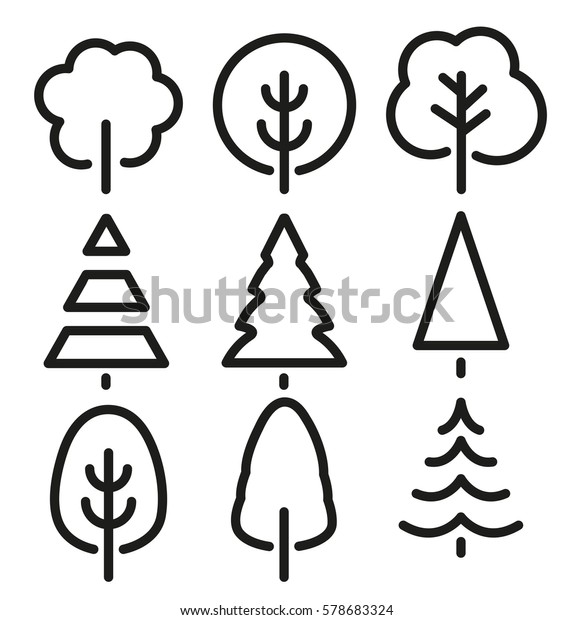 Isolated black and white color trees in lineart style set, forest, park and garden tree flat signs collection