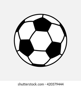 Isolated black white Football or Soccer on grey background. Flat Sports vector illustration.