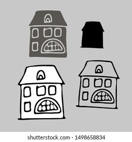 Isolated black and white silhouettes of houses on grey background. The design is perfectly suitable for clothes design, children decoration, stickers, stationary.