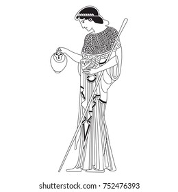 Isolated black and white vector illustration. Old Greek goddess Athena holding an owl and a vessel.
