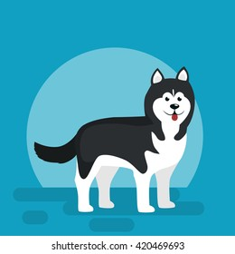 Isolated black and white young Husky, dog vector illustration