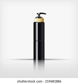 Isolated blank black cosmetic and gold cap with black pump top bottle on white background (vector)