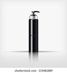Isolated blank black cosmetic and silver cap with black pump top bottle on white background (vector)
