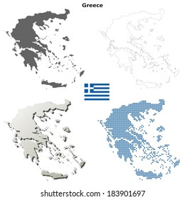 Isolated blank contour maps of Greece - vector version