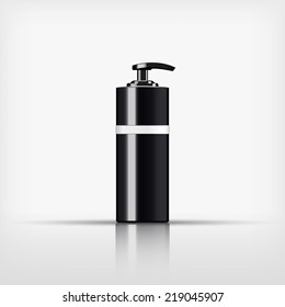 Isolated blank cosmetic black pump top bottle with white band on white background (vector)