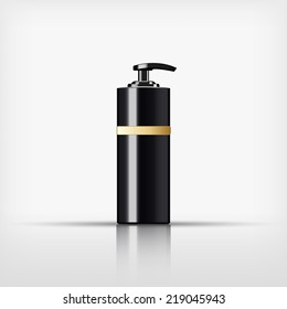 Isolated blank cosmetic black pump top bottle with gold band on white background (vector)