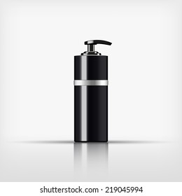 Isolated blank cosmetic black pump top bottle with silver band on white background (vector)