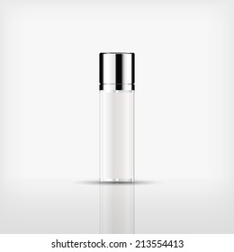 Isolated blank cosmetic bottle with silver cap on white background (vector)