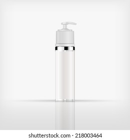 Isolated blank cosmetic white pump top bottle with white cap on white background (vector)