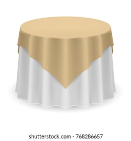 Isolated Blank Round Table with Tablecloth in Beige and White Colors