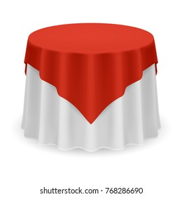 Isolated Blank Round Table with Tablecloth in Red and White Colors