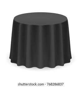 Isolated Blank Round Table with Tablecloth in Black Color