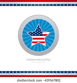 Isolated blue banner with a star with the american flag for independence day celebrations