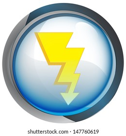 isolated blue circle button with lightning vector illustration