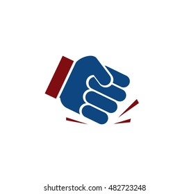 Isolated blue color fist logo. Human hand angry gesture. Protest symbol. Aggressive objection sign. Force and violence icon. Designed judge hammer. Vector illustration.