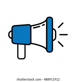Isolated blue megaphone on white background. Concept of announcement, broadcasting or warning.