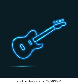 Isolated blue neon guitar on dark background.