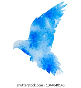 isolated blue silhouette of flying bird, dove
