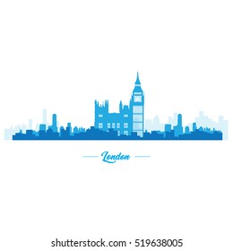 Isolated blue skyline of London, Vector illustration