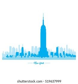 Isolated blue skyline of New York, Vector illustration