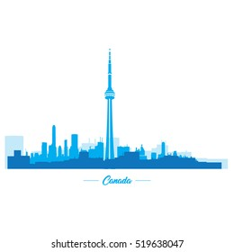 Isolated blue skyline of Toronto, Vector illustration
