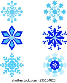 Isolated Blue Snowflakes Vectors, Winter Decoration