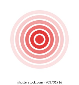 Isolated bold vector red ring. Pain circle. Symbol of pain. For your medical design. Transparent background.