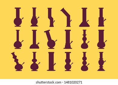 Isolated bongs set on background. Bongs and waterpipes. Smoking equipment made of glass.