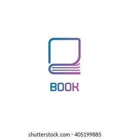 Isolated book logo. Lineart colorful abstract vector illustration. Modern stylized library icon. Learning symbol. Learn business. School teaching sign. Page of notebook.