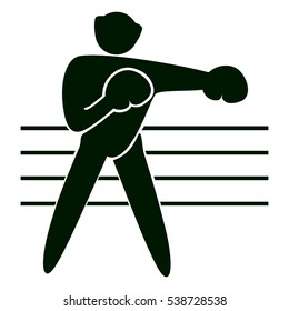 Isolated boxing icon. Black figure of an athlet on white background. Person with gloves and helmet on the ring.