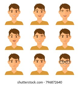 Isolated boy avatars with different facial expressions. Flat illustration women's emotional faces.