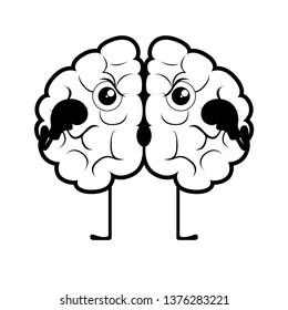 Isolated brain cartoon with boxing gloves. Vector illustration design