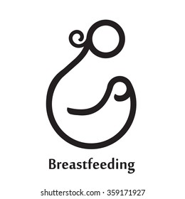 Isolated Breastfeeding logo. Mother and baby icon / logo / sign. Motherhood. White and black Lactation symbol. Mom. Maternity. Milk. Breast. Line art. Parent. Mother care. Health Love. Woman & child