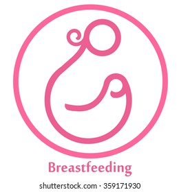 Isolated Breastfeeding logo. Mother and baby icon / logo / sign. Motherhood. White and black Lactation symbol. Mom. Maternity. Milk. Breast. Line art. Parent. Mother care. Health. Love. Woman & child.
