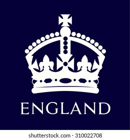 Isolated british crown on a blue background. Vector illustration