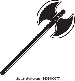 Isolated Broad Axe, Two sided Axe, Battle Axe, Medieval Axe in Vector