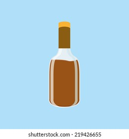an isolated brown bottle on a blue background