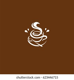 Isolated brown color cup in retro style logo, logotype for coffee shop vector illustration on brown background