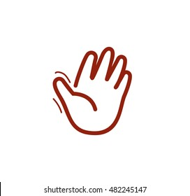 Isolated brown color human palm contour logo on the white background. Waving hand outline logotype. Greeting sign. Hello symbol. Give five icon. Gesture vector illustration.