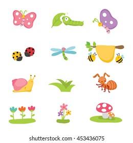 isolated bugs vector cartoon design
